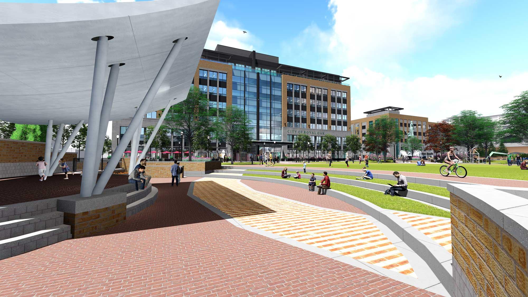 Royal Oak City Center from Bandshell